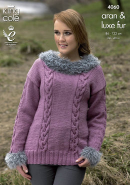 Sweater, Cowl and Hat in King Cole Aran and Luxe Fur - 4060