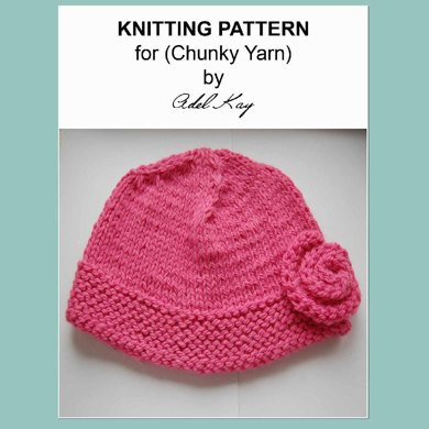 Elspeth Girls Ladies One Size Rose Corsage Pink Beanie Hat Chunky Knitting Pattern by Adel Kay