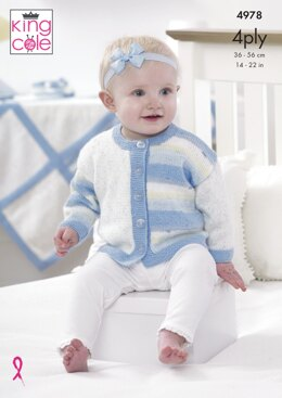 Jacket, Hat, Bootees and Blanket in King Cole Big Value Baby 4Ply - 4978