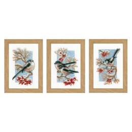 Vervaco Long-tailed Tits & Red Berry Minature Cross Stitch Kits (3 pcs) - 8cm x 12cm