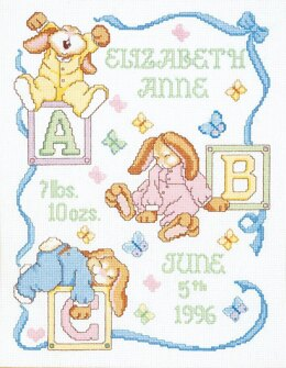 Janlynn Corporation Sleepy Bunnies Birth Announcement Cross Stitch Kit