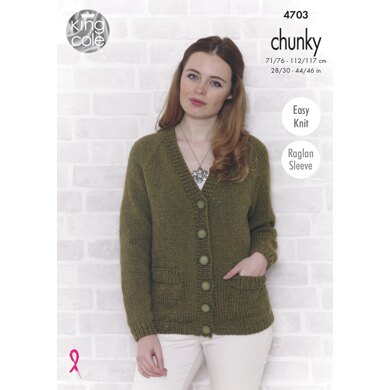 Sweater and Cardigan in King Cole Value Chunky - 4703 - Downloadable PDF