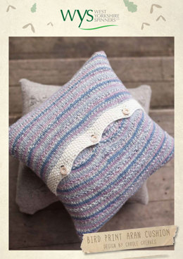 Bird Print Aran Cushion in West Yorkshire Spinners Bluefaced Leicester Aran Country Birds Collection