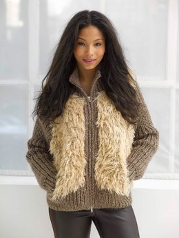 Modern Varsity Jacket in Lion Brand Wool-Ease Thick & Quick and Romance - L32205