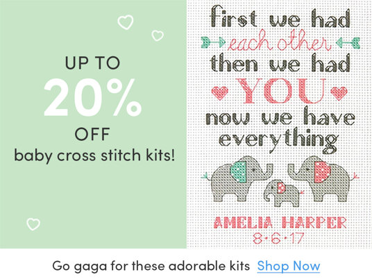 Up to 20 percent off baby cross stitch kits