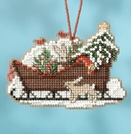 Mill Hill Woodland Sleigh Ornament Cross Stitch Kit - 3.5in x 2.5in