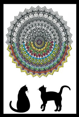 Design Works Cat Mandala Zenbroidery Kit - Multi