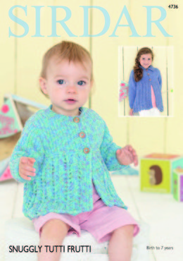 Flat Collared and Round Neck Cardigans in Sirdar Snuggly Tutti Frutti - 4736 - Downloadable PDF