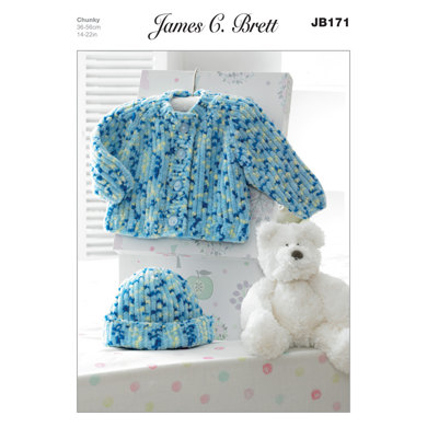 Hat and Jacket in James C. Brett Flutterby Chunky - JB171