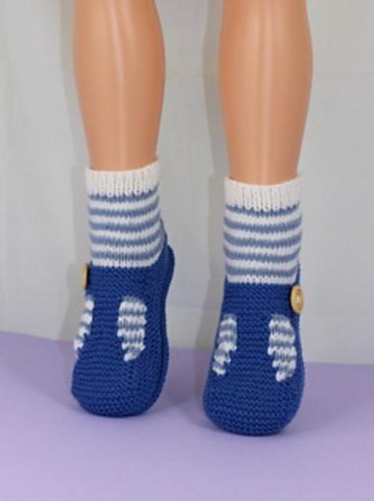 Knitting Pattern For Sandal Socks : Childrens Stripe Sock T Bar Sandal Slippers Knitting pattern by madmonkeyknit...