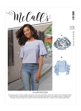 McCall's JudithMcCalls - Misses' Tops With Trumpet, Tulip, Pleated Or Bubble Sleeves M8161 - Sewing Pattern