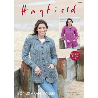 Collared and Round Neck Cardigans in Hayfield Bonus Aran Tweed - 7895 - Downloadable PDF