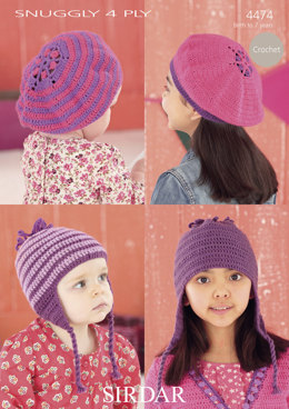 Berets and Helmets in Sirdar Snuggly 4 Ply - 4474