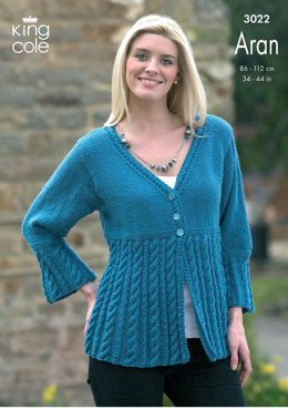 Jacket and Coat Dress in King Cole Merino Blend Aran - 3022