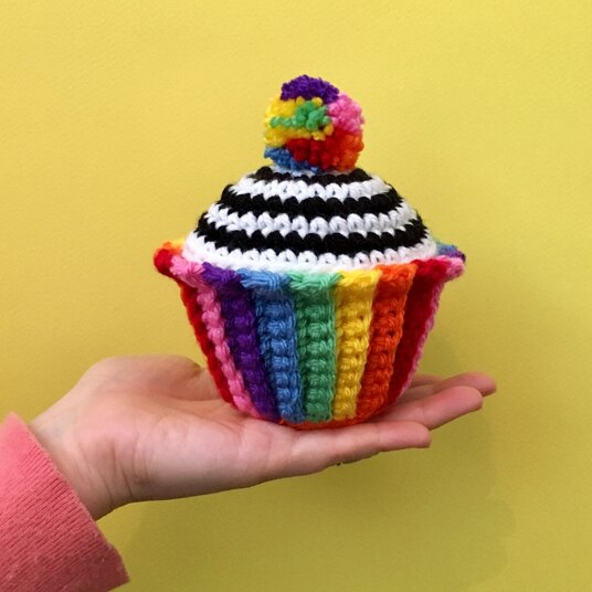 Bright coloured carnival cupcake