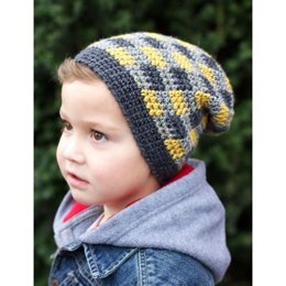 Plaid Slouchy Beanie in Patons Classic Wool DK Superwash - Downloadable PDF
