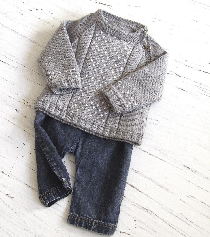 Baby round neck, side opening sweater Knitting pattern by OGE Knitwear Design...