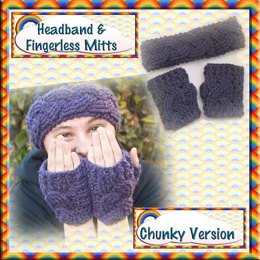 Cabled Headband & Mitts - Chunky Version