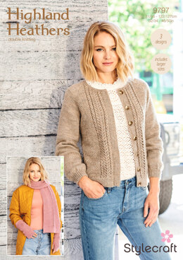 Cardigan, Scarf and Wristwarmers in Stylecraft Highland Heathers - 9797 - Downloadable PDF
