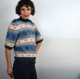 Fair Isle Frenzy Sweater in 	UK Alpaca Baby Alpaca Silk 4 Ply - Downloadable PDF