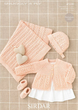 Coat, Bonnet, Bootees and Blanket in Sirdar Snuggly 4 Ply 50g - 4508 - Downloadable PDF
