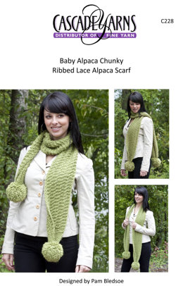 Ribbed Lace Scarf in Cascade Baby Alpaca Chunky - C228
