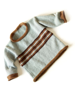 Knit Coastal Stripe Pullover in Lion Brand Wool-Ease - 70264AD