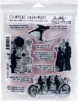 """Stampers Anonymous Tim Holtz Cling Stamps 7""""X8.5"""" - Theories"""