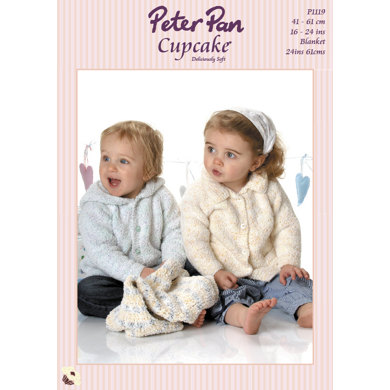 Jacket with Hood or Collar & Crochet Pram Cover in Peter Pan Cupcake - 1119