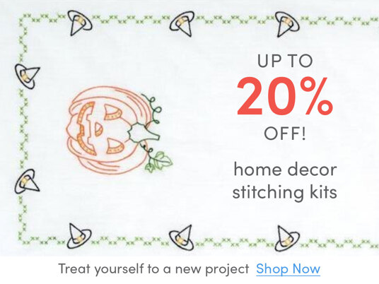 Up to 20 percent off home decor stitching kits