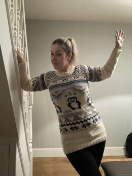Hearts and Penguins Christmas Jumper