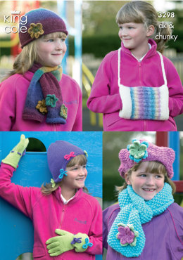 Girls Hats, Scarves, Gloves & Handwarmer in King Cole DK & Chunky - 3298