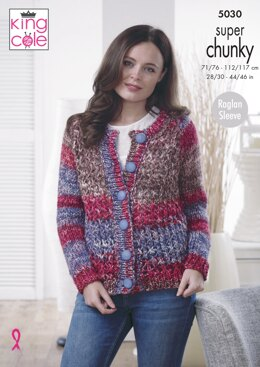 Cardigan & Sweater in King Cole Big Value Super Chunky Tints - 5030 - Downloadable PDF