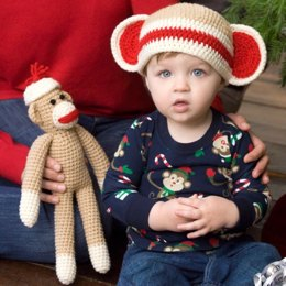 Sock Monkey and Baby Hat in Red Heart Super Saver Economy Solids - LW2266