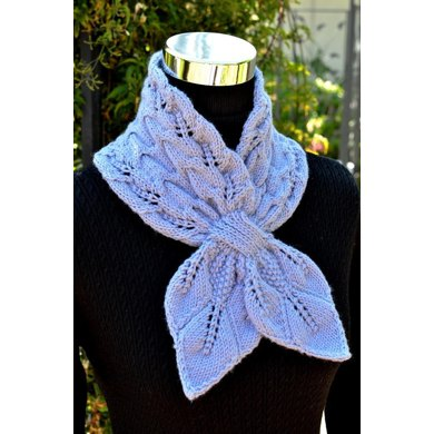 Leaves and Cables Scarf ( Keyhole / Ascot / Pull-Through / Vintage / Stay On Scarf Knitting Pattern )