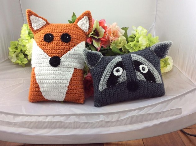 Raccoon And Red Fox Pillow Pals Crochet Pattern By Lisa