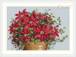 Merejka Poinsettia Cross Stitch Kit - 35cm x 24cm