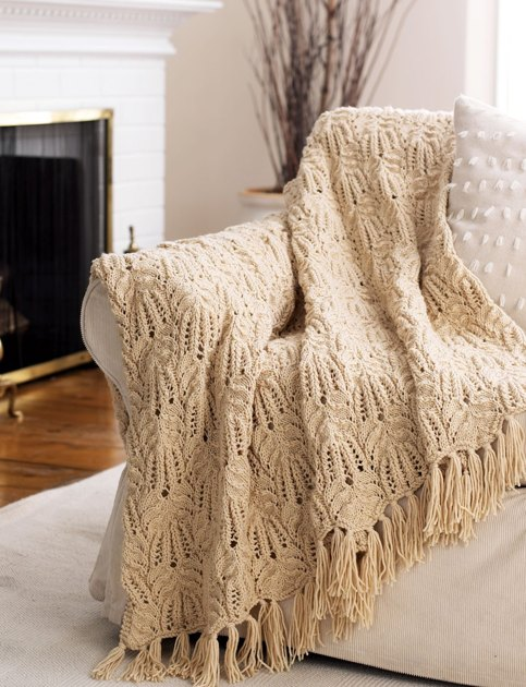 Free Knitting Pattern 80115ad Winter Lace Afghan Lion : Lace and Cable Afghan in Bernat Super Value Knitting ...