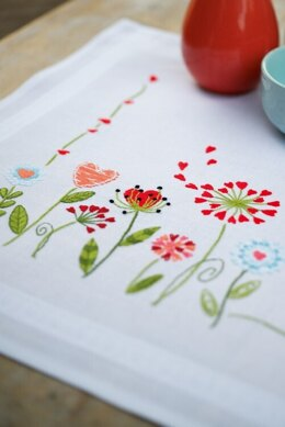 Vervaco Flowers Table Runner Embroidery Kit