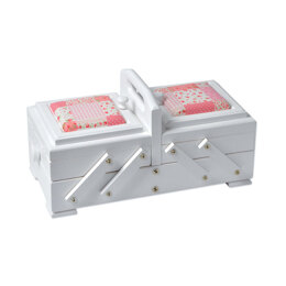 Sewandso Sewing Box with Rose Quilt Cushion Lids, Painted White