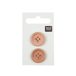 Rico Wooden Buttons With Edge, 4 Holes (20mm)