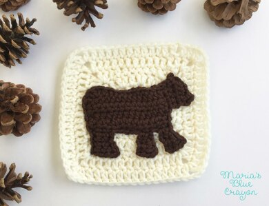 Woodland bear applique granny square crochet pattern by marias