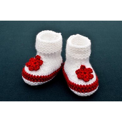 Two Colors Simple Baby Booties Knitting Pattern By Christy Hills