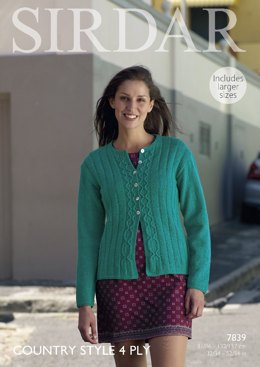 Cardigan in Sirdar Country Style 4 Ply - 7839- Downloadable PDF