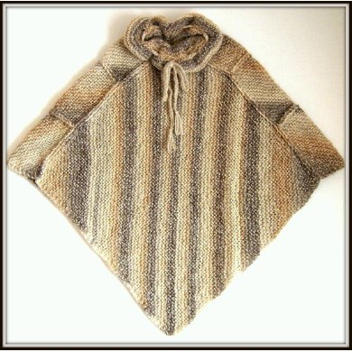 Poncho with Frilled Collar (allsquareknits)