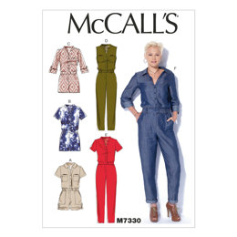 McCall's Misses' Button-Up Rompers and Jumpsuits M7330 - Sewing Pattern