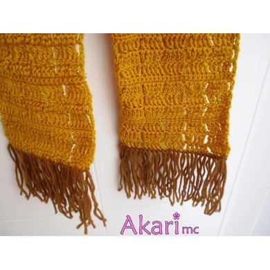 Crochet scarf with fringes. Easy level. Akari mc_ L01