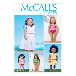 McCall's 18in Doll Top with Contrast Yoke and Shorts, Swimsuit with Contrast Variations and Headband M7612 - Sewing Pattern