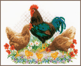 Vervaco Counted Cross Stitch Kit Rooster and Chickens