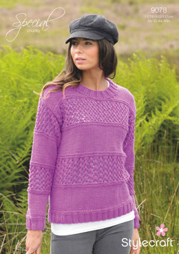 Womens' Lace Panel Sweater in Stylecraft Special Chunky
